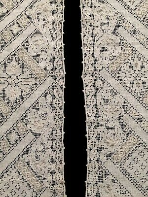 2 GORGEOUS Antique Crochet Linen Lace Runners Ivory Vintage Runner Set