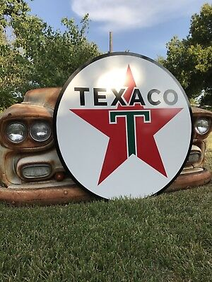 "Antique Vintage Old Style Texaco Gas Oil Sign! 40""!"