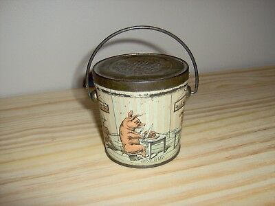 """Vintage """"Three Little Pigs"""" Tin Candy Pail"""