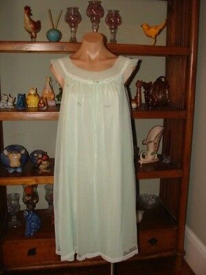 """Ladies/Womens Vintage Evette Short Chiffon Nightgown - Bust to 42"""" - Lt. Green"""