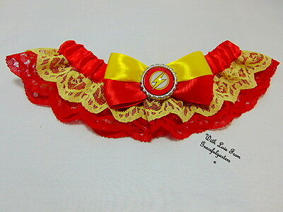 Flash superhero Lace Bridal Wedding Garter. superhero. dccomics