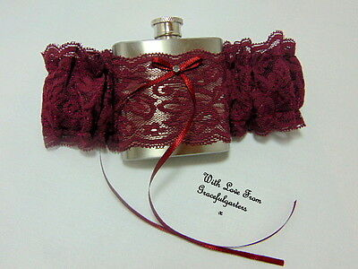 Burgundy/Wine Lace Hip Flask Bridal Wedding Garter.