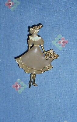 Xrare-Vintage Art Deco Brooch/pin-1930's Era-Spring Lady