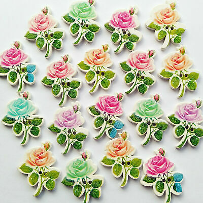 Mix Colors Rose Flower Wood Button Sewing Diy Craft Embelishment Supply