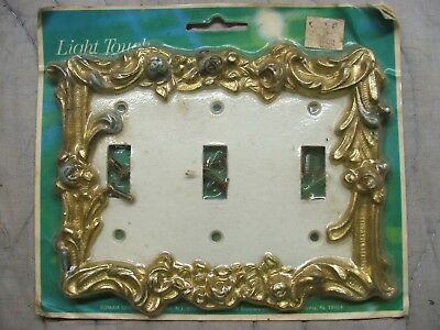 vintage brass metal white triple toggle light switch wall plate floral angelo