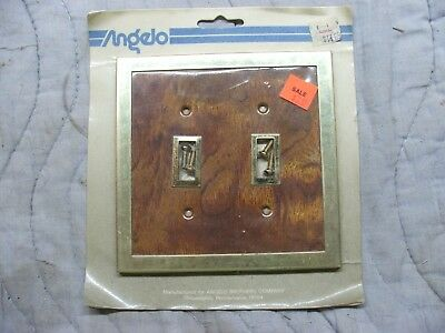 vintage shiny brass metal oak wood double toggle light switch wall plate angelo