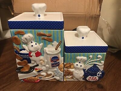 The Pillsbury Doughboy CANISTER COLLECTION set of two The Danbury Mint 4 pc