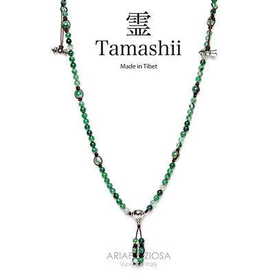 COLLANA ORIGINALE TIBETANA TAMASHII MUDRA LACE GREEN - verde striato NHS1500-140
