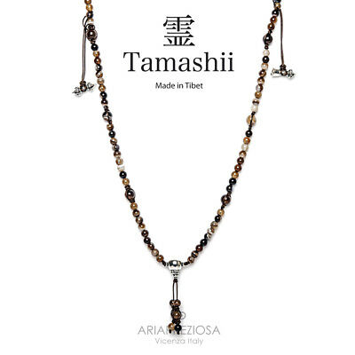 Collana Originale Tibetana Tamashii Mudra Lace Brown Nhs1500-94