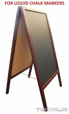 Tektrum Large Double-Side Sidewalk A-Frame Wood Mahogany Sandwich Sign Board 20""