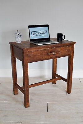 Vintage Mid Century Oak Pedestal Desk Industrial Scool Teacher's Table