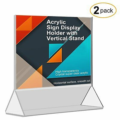 CRUODA Acrylic Sign Display Holder with Vertical Stand 5x7, 2 pc/Table Card Ad