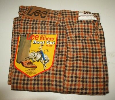 Vintage LEE Boys Riders Boot Cut Flare Jeans, Plaid, Size 16, W28-L31, USA Made