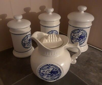 Rare Mccoy Blue Willow 4 Piece Stoneware Canister & Pitcher Set!