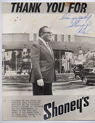 ALEX SCHOENBAUM Autograph Signed Shoney's Big Boy Restaurant 8x10, Founder Rare
