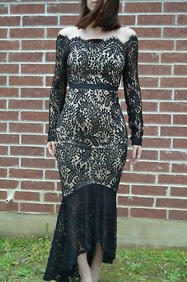 0ce2260a5825d6 Forever 21 Latiste off shoulder black and tan paisley lace hi-lo mermaid  dress