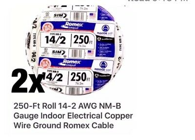 (2) -250-Ft Rolls 14-2 AWG NM-B Indoor Electrical Copper Wire Ground