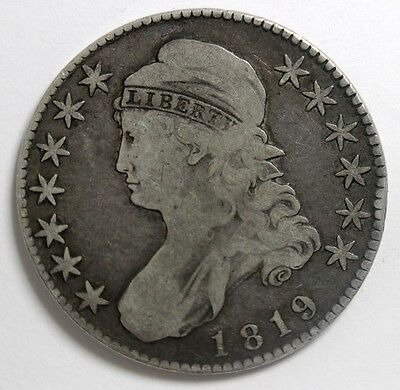 1819 Capped Bust, 50 Cent, Large 9. Fine, Has Eye Appeal, Ungraded, Tom's C & C