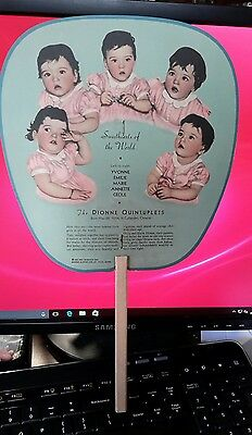 Antique 1936 Dionne Quintuplets Schmidt 's ice cream Advertising Fan