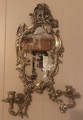 Vintage/Antique french bronze Ornate 2 arm Wall sconce W/ Mirror Glass