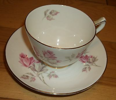 English England Cup And Saucer Bone China Crown Staffordshire Flowers