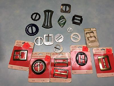 Lot of Vintage Buckles and Slides Brass Bakelite Celluloid Mother Of Pearl