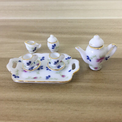 8 PCS Dollhouse Miniature Tea Set 1/24 Porcelain Dish/Cup/Plate Flower