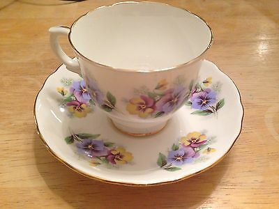 Crown Staffordshire England Fine Bone China Cup & Saucer Pansy Floral Pattern