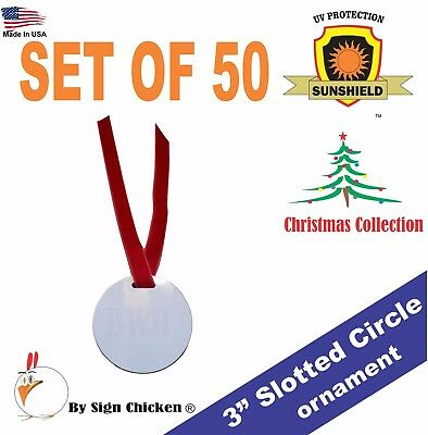 "3"" Round Ornament , for sublimation, SINGLE SIDED - with SLOT - lot of 50"