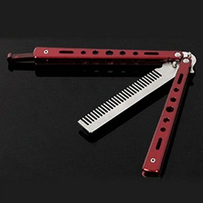 Red Stainless Steel METAL Trainer Butterfly Balisong Style Knife Comb Cool-1PCS