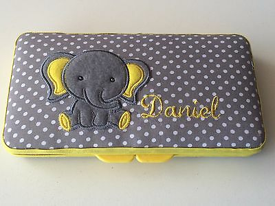 Personalized Baby Wipe Case Cute Elephant Boy Jungle