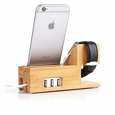 Apple Watch and iphone Charging Station Bamboo Wood Charger Stand Charging dock