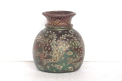 Old Vintage Rare Handmade Decorated Green Water Pot Decorative Collectible T35