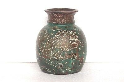 Old Vintage Rare Handmade Decorated Water Pot Decorative Collectible T37
