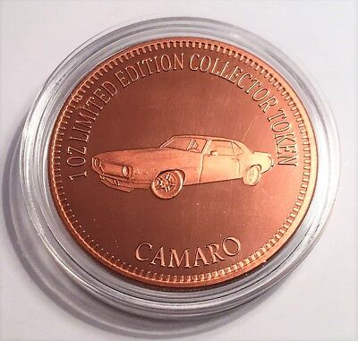 "NEW 2018 ""CHEVROLET CAMARO"" M/Car Series ""2"" 1 0z 999 Solid Copper Bullion Coin"