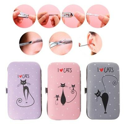 7PCS/1Set Cute Cat Manicure Pedicure Nail Clippers Cleaner Cuticle Grooming Case