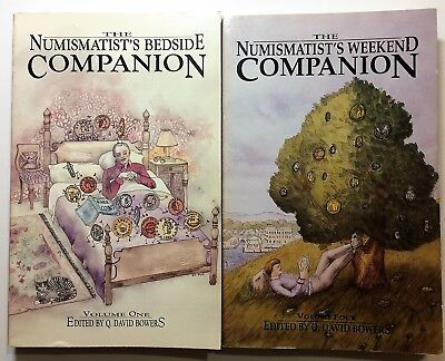 The Numismatist's Bedside & Weekend Companion Q. David Bowers - Vol 1 & 4 signed