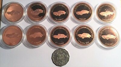 "2018 Full Set of 10 Muscle Car Series ""1&2"" 1 0z 999 Solid Copper Bullion Coins"