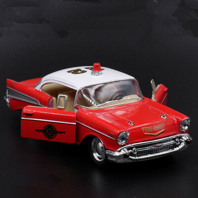 Chevrolet 1957 Bel Air Fire Truck Model Cars Toys 1:40 Open two doors Collection
