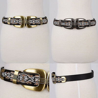 Boho Women Western Fashion Embroidered Front Double Buckle Bri Bri Stretch Belt