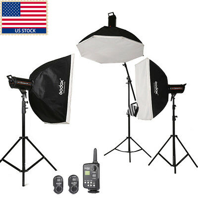 US Stock 1800W 3x Godox QT600 3x 600w High Speed Studio Strobe Flash Light Kit