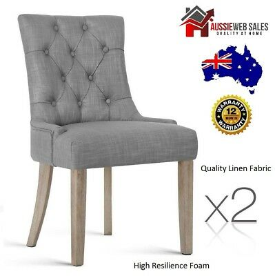 Set of 2 French Provincial Dining Chair - Grey Beige