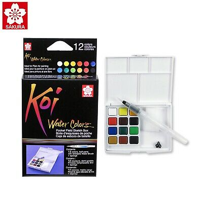 Sakura Koi Watercolour 12 Colors Field Sketch Box | Draw Travel Kit | | XNCW-12H