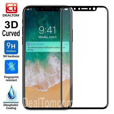 For Apple Iphone X Full Cover 3D Curved Tempered Glass Screen Protector Film S