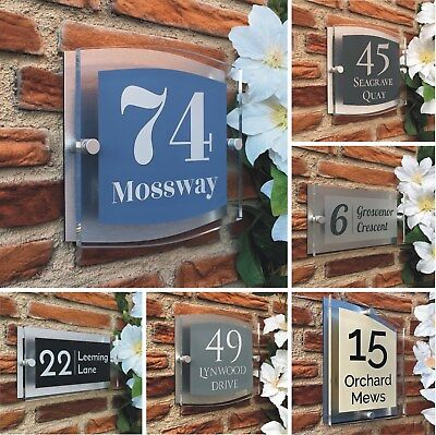 House Number Plaques Modern Clear Acrylic Personalised Door Address Sgns