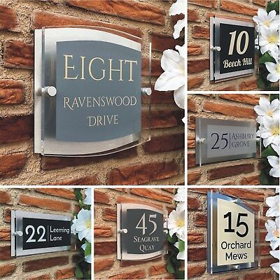 House Name Door Sign Modern Acrylic Personalised Unique Shapes Colours Fonts