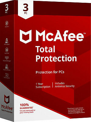 McAfee TOTAL PROTECTION 2019/2018/2017 - 1Year Subscription -3 PCs(Only for PC)
