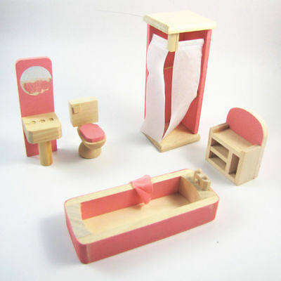 Kids Dolls House Furniture Set Miniature Wooden Family Child Play BathRoom Toy