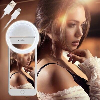 Rechargable 3 Mode Selfie LED Flash Ring Fill Light Camera For iPhone Android AU