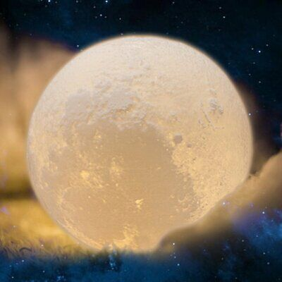 18CM 3D   Magical Moon Night Light Moonlight Table Desk Moon Lamp W/ Holder MX